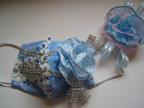 Hand Beaded Couture Face Mask with Detachable Ribbon Flowers