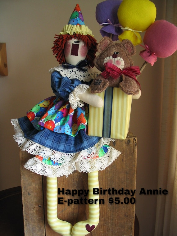 Happy Birthday Annie Downloadable E-pattern, Special Occassion, Sewing Pattern, Gift Ideas for Her, Holiday Decor, Raggedy Ann, Doll Pattern