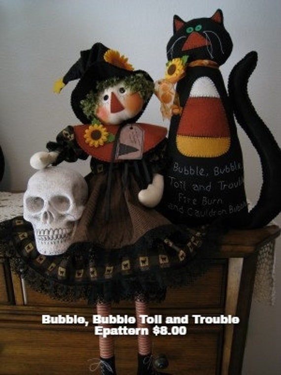 Bubble, Bubble, Toil and Trouble Instant Downloadable Pattern, Witch Pattern, Cat Pattern, Halloween Decor, Holiday Decor, Raggedy Ann,