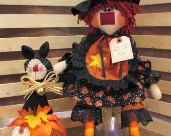 Witchy Poo and Kitty Too Instant Downloadable Pattern, Halloween Decor, Fall Patterns, Witch Patterns, Witch and Cat, Witches, Witch Decor