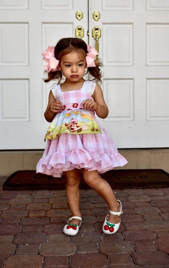 Pink Dress, Strawberry Shortcake Dress, Pink and White Dress, Birthday Dress, Country Dress, Ruffled Dress