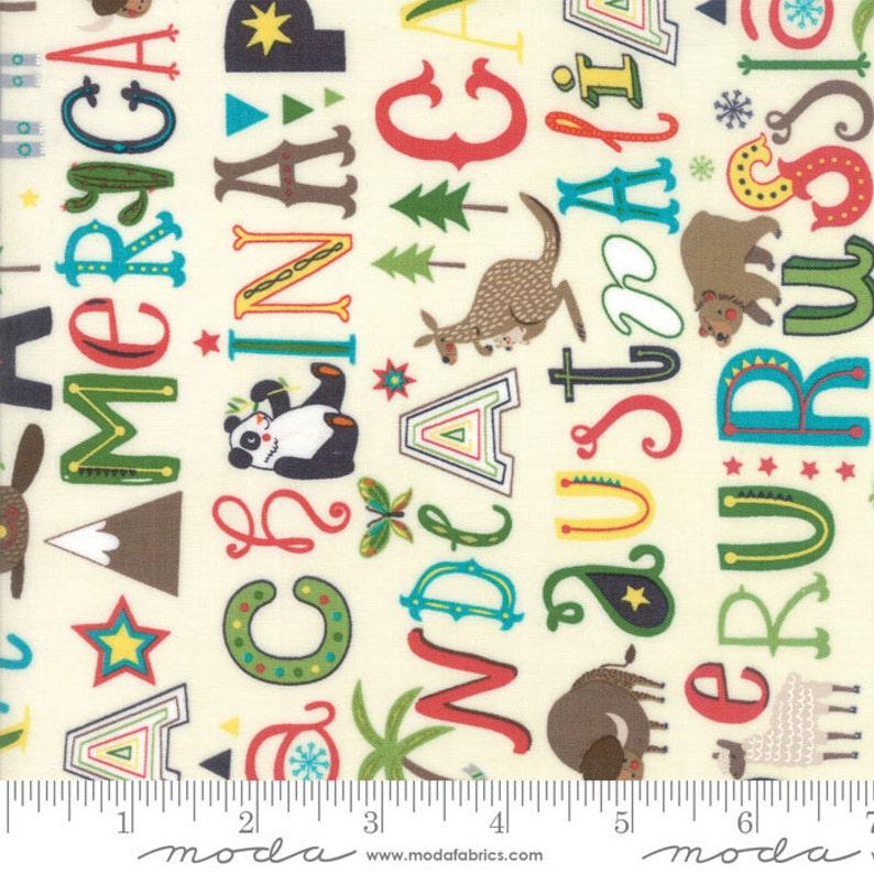 Children's Alphabet and Animal Fabric  Hello World by Abi image 0
