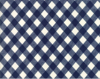 Navy Blue and White Gingham Fabric - Basics by Bonnie and Camille from Moda - 1/2 Yard