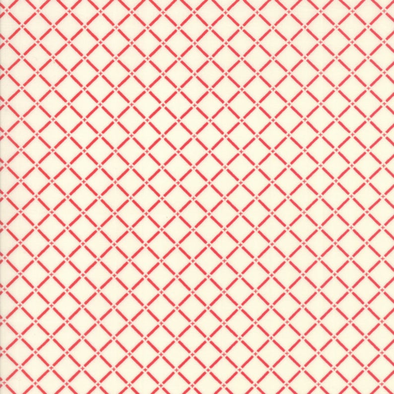 Red and White Geometric Picnic Basket Fabric  Sunday Drive by image 0