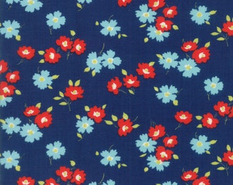 Navy Blue and Red Floral Fabric - Sunday Drive by Pat Sloan from Moda
