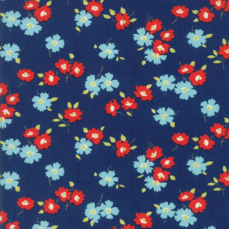 Navy Blue and Red Floral Fabric  Sunday Drive by Pat Sloan image 0