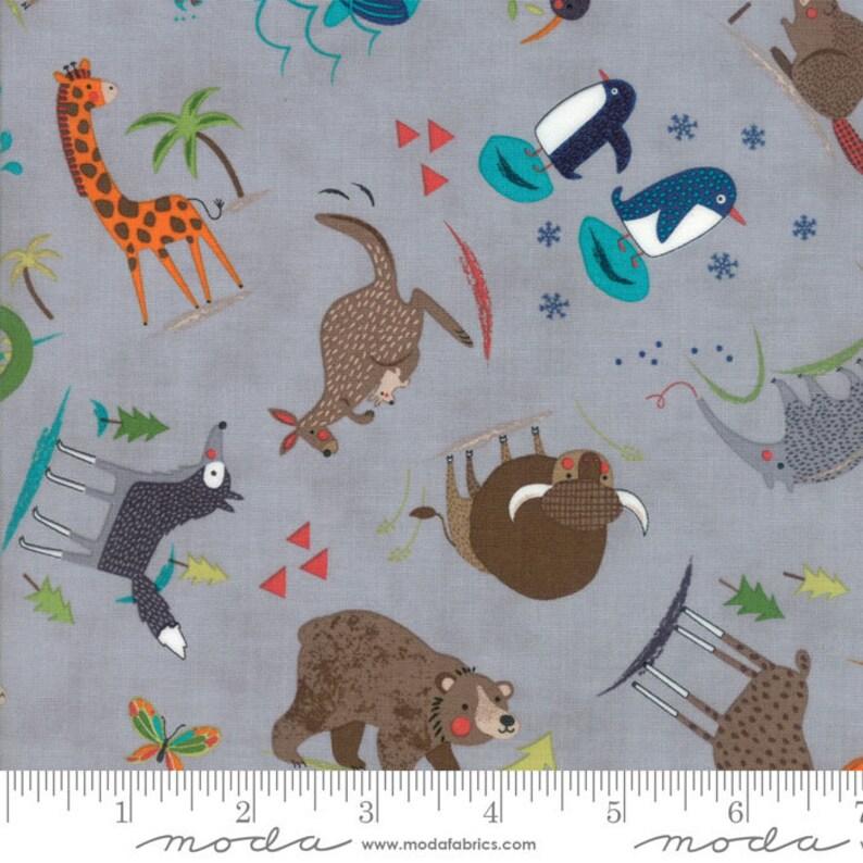 Gray Children's Animal Fabric  Hello World by Abi Hall image 0