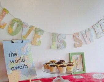 Love Is Sweet, Travel Theme,Map Banner, Sweets Table, Map Theme, Sweets, Candy Table, Table Sign, Vintage Maps, Custom Sizes