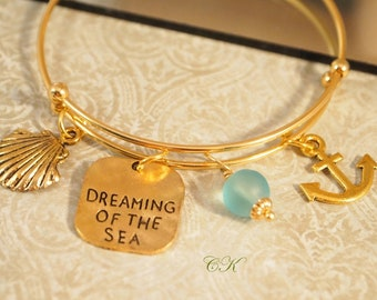 Dreaming of The Sea Bangle Beach Lover's Bangle Summer Jewelry Beach Jewelry Beach Bracelet Ocean Jewelry Nautical Jewelry Gift for Her