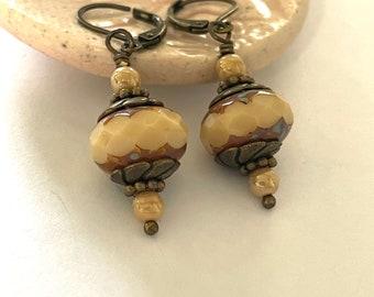 Earthy Boho Czech Glass Earrings Cream Drop Pierced or Clip-on Earrings Chunky Czech Glass Earrings Bohemian Earthy Jewelry