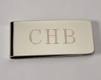 3d7d248bc791 Custom Engraved Silver Money Clip Personalized High Polish Non Tarnish  Nickel Plated - Hand Engraved