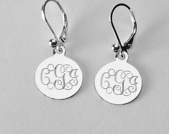 bcfbd683e Custom Engraved Monogram Earrings Personalized Small 1/2 Inch Sterling  Silver Round Lever Back Earrings - Hand Engraved