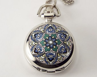 Personalized pendant etsy personalized pendant watch flower design custom engraved necklace watch hand engraved aloadofball Choice Image