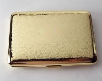 Custom engraved cigarette or business card case personalized personalized custom engraved golden business card case or kings cigarette case double sided scroll design hand engraved colourmoves