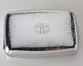 Custom Engraved Pill Box Personalized Scroll Design Silver Two Roomy Compartments -Hand Engraved