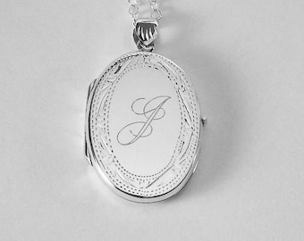 Custom Engraved Locket Personalized Sterling Silver Large Oval Locket 1.25 Inch  - Hand Engraved