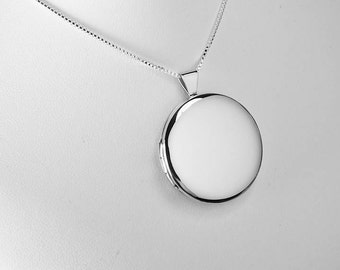 Engraved Sterling Silver Large Round Flat Locket 1 1/8 Inch on 18 inch Sterling Silver Chain Hand Engraved