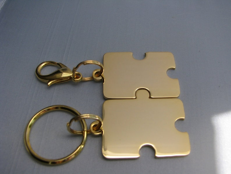 Custom Engraved Keychain Set Puzzle Pieces Personalized ...