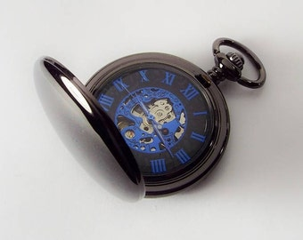 Pocket Watch Custom Engraved Personalized Gloss Black Mechanical Wind Up Watch with Blue Numbers and Skeleton Dial - Hand Engraved