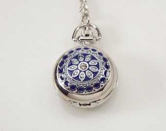Personalized Pendant Watch Custom Engraved Necklace Watch Blue Enamel and Crystals  - Hand Engraved