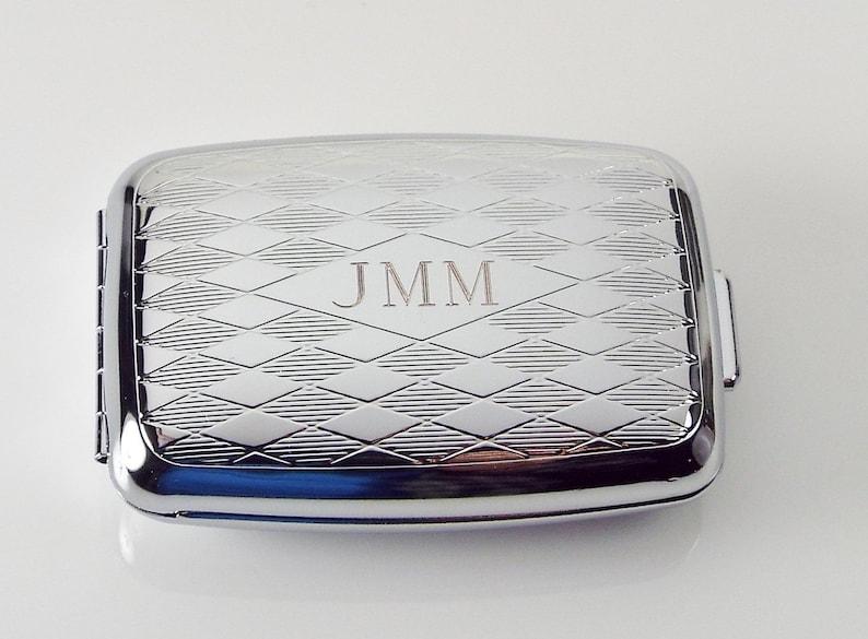 Pill Box Personalized Custom Engraved Diamond Pattern Silver image 0
