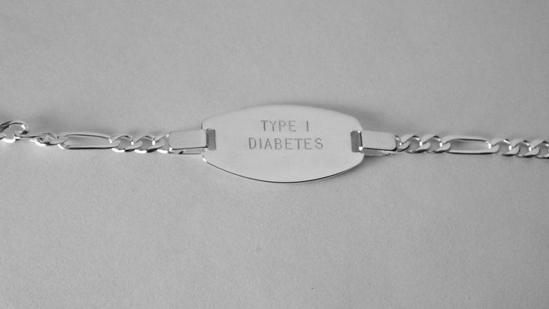 Custom Engraved Personalized Sterling Silver Medic Alert Bracelet 8 Inch Length Hand Engraved