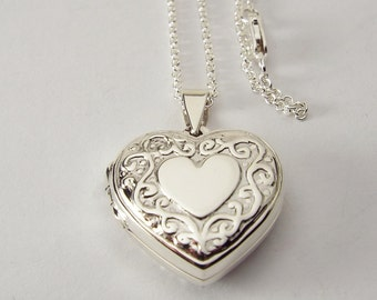 Custom Engraved Locket Personalized Sterling Silver Heart with Scroll Design  - Hand Engraved