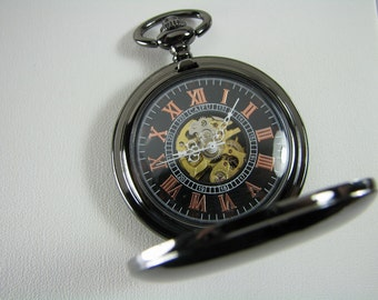 Pocket Watch Custom Engraved Personalized Gloss Black Mechanical Wind Up Watch with Skeleton Dial - Hand Engraved