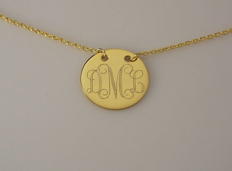 1553f87a172dbf Monogram Necklace 14K Yellow Gold Plated Custom Engraved | Etsy