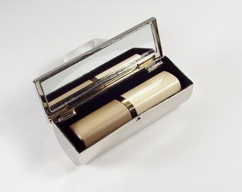 Engraved Lipstick Case Custom Personalized Nickel Plated Single Lipstick Case with Mirror  - Hand Engraved