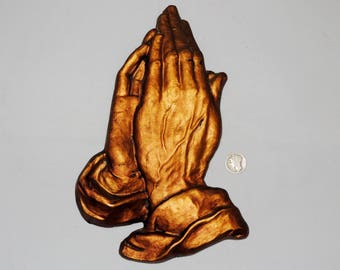 Plaster Praying Hands, Religious Wall Decor