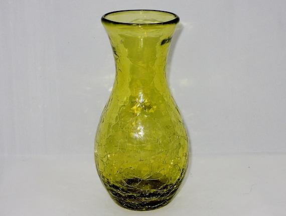 Avocado Green Crackle Glass Blenko Vase Etsy