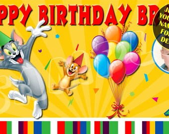 Tom And Jerry Cartoon Happy Birthday Banner Custom Banners Party Personalised Signs