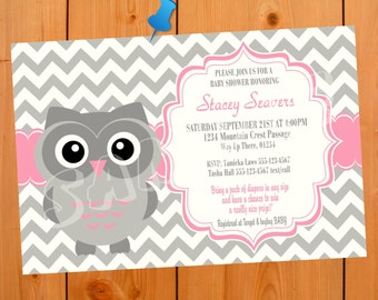 Owl baby shower invitation etsy owl baby shower invitation boy girl boy baby shower invite girl baby shower invite animals chevron chevrons gray grey white pink filmwisefo