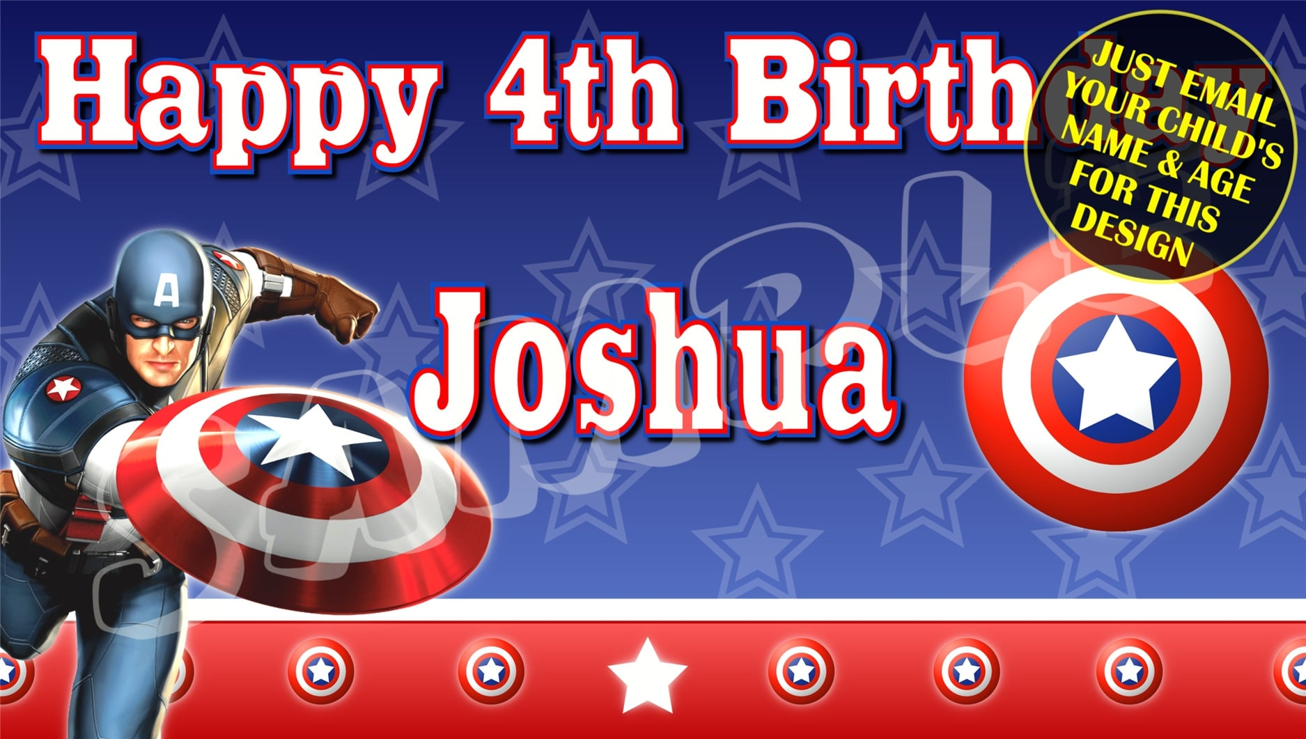 Captain America Personalised Birthday Number Age Iron On Transfers A4 A5 A6