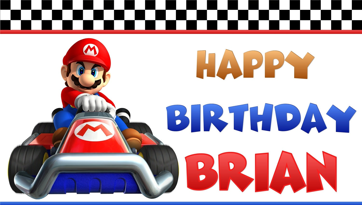 Super Mario Brothers Kart Personalized Custom Birthday Banner | Etsy