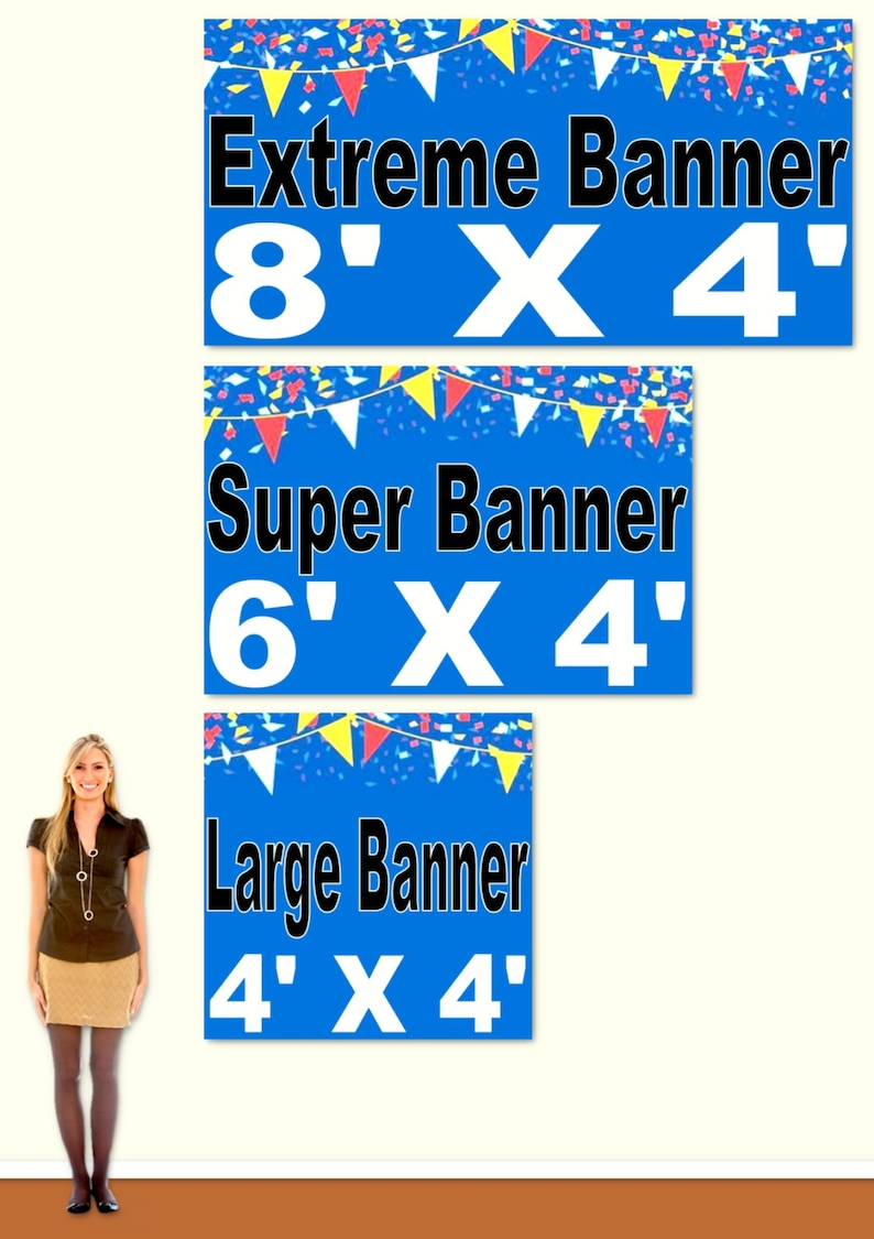 Banner Back Drop Size Upgrade, You Choose, 4 x 4 foot, 6 x 4 foot, or 8 x 4  foot