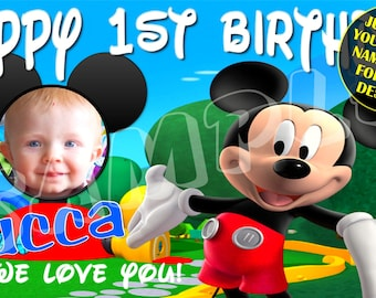 Mickey Mouse Club House Personalized Custom Birthday Banner with photo Party Decoration