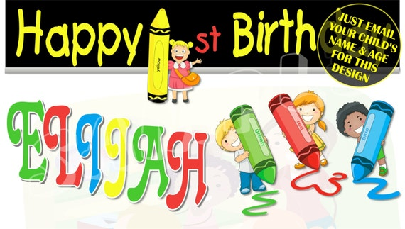 image about Free Printable Birthday Banners Personalized known as Crayon Concept Custom made Birthday Banner with a no cost printable Do-it-yourself Invitation - Particularly electronic mail childs status, age and image for any style and design