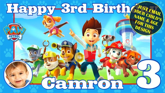 Paw Patrol, Happy Birthday Banner, Birthday Banner, Custom banners, Party  Banners, Personalised Birthday Banners, banner