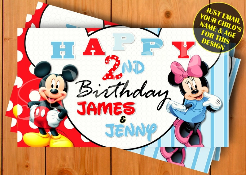 Mickey and Minnie Mouse, Happy Birthday Banner, Birthday Banner, Custom  banners, Party Banners, Personalised Birthday Banners, banners