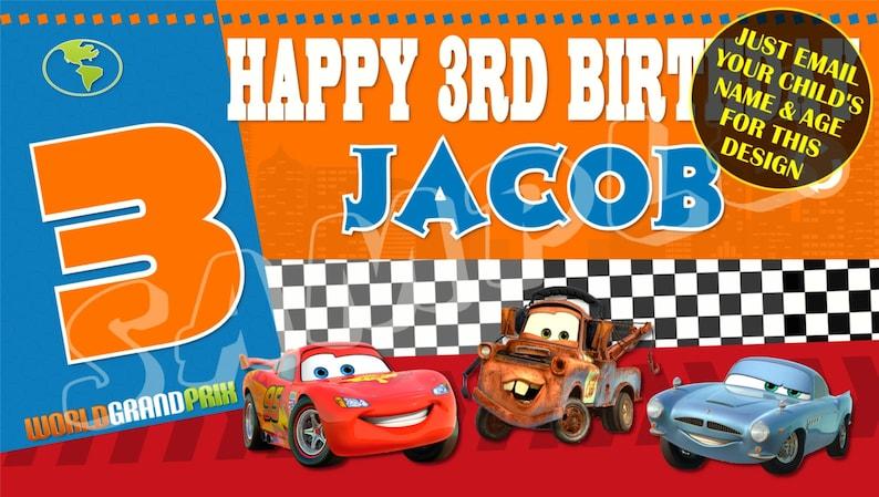 Cars Disney Cars Happy Birthday Banner Birthday Banner Etsy