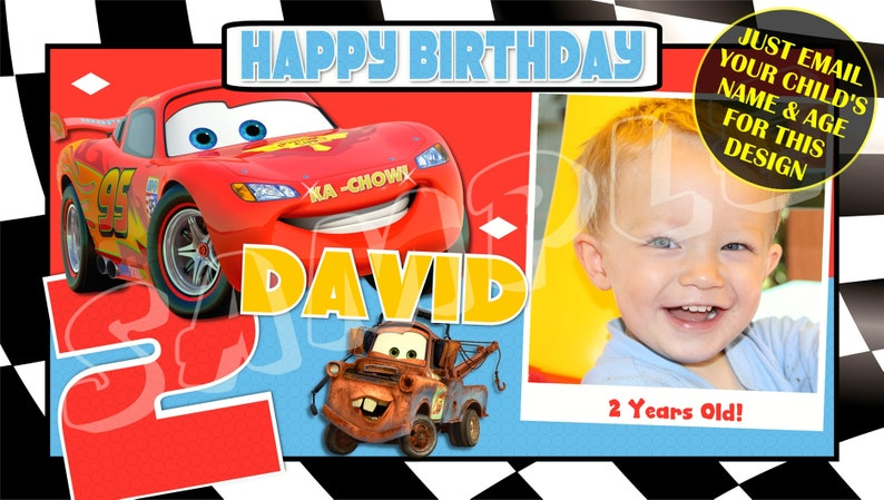 Custom banner Disney Pixar/'s Cars Happy Birthday Banner Birthday Banner Personalised Birthday Banners banners and sign Party Banners