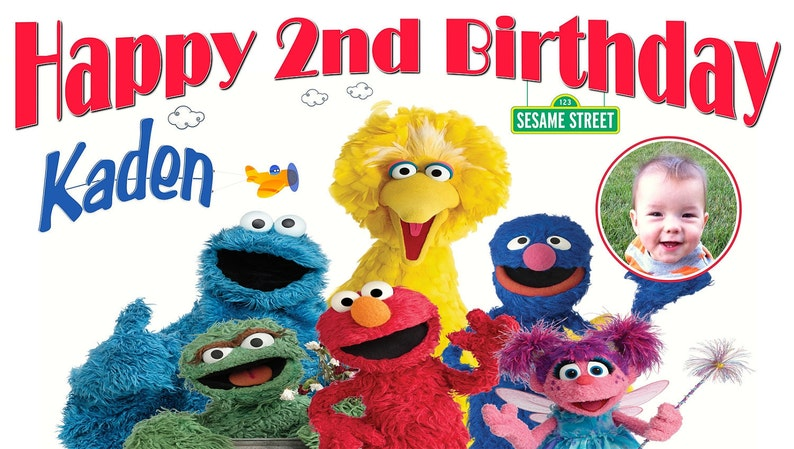 Sesame Street Personalized Custom Birthday Banner w/Photo and with a