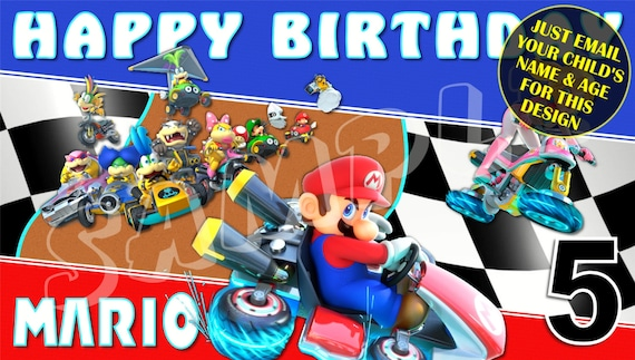 x2 Personalised Happy Birthday Banners Super Mario Game Kids Party Decoration 2