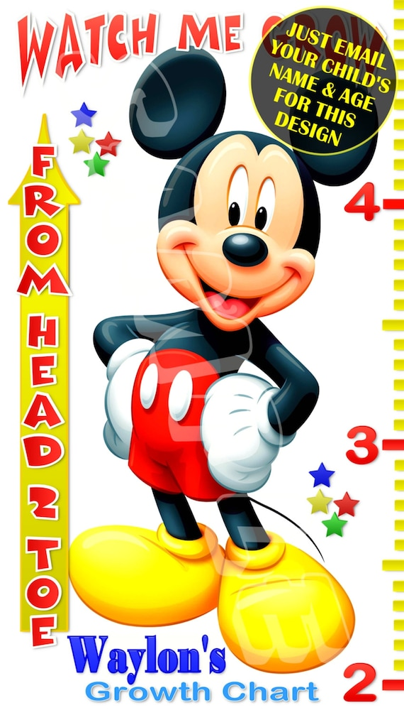Mickey Mouse Mickey Mouse Growth Chart Banner Custom Etsy