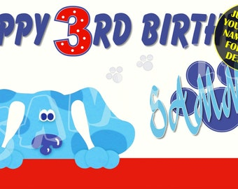 Blues Clues Personalized Birthday Banner with free printable DIY Invitation - Just email child's name age photo for any design