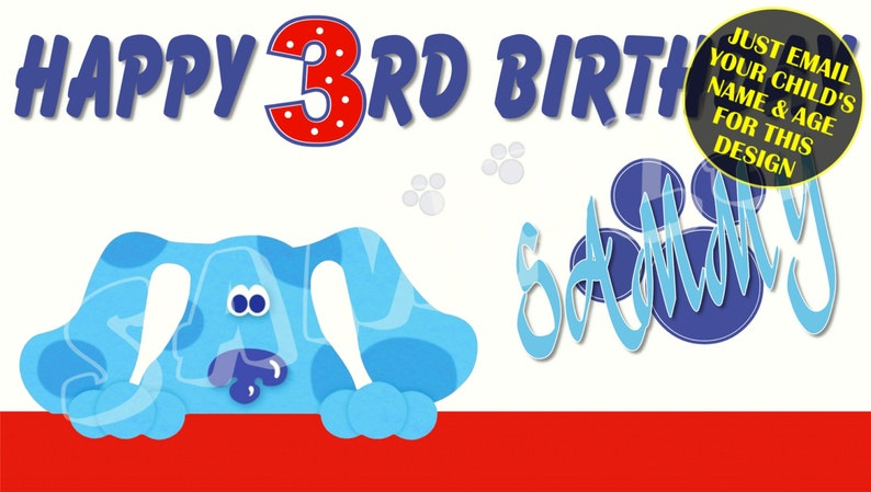 image relating to Free Printable Birthday Banners Personalized called Blues Clues Custom-made Birthday Banner with no cost printable Do it yourself Invitation - Simply electronic mail childs track record age image for any layout