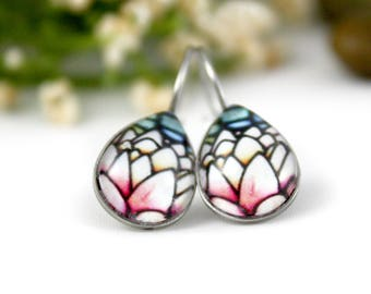 Lotus Flower Earrings - Stained Glass Flower Jewelry - Pink Water Lily Earrings - Glass Earrings - Art Nouveau Floral - Handmade Jewelry