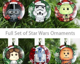 6 Star Wars Ornaments - Star Wars Tree Decoration Set - R2D2, Princess Leia, Darth Vader, Stormtrooper, Chewy, Yoda - Nerdy Gift Idea